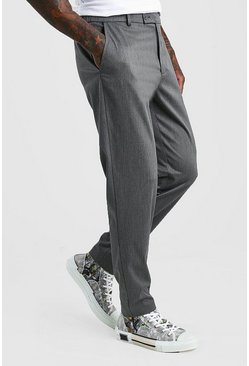 Charcoal Slim Casual Pants With Elasticated Waistband