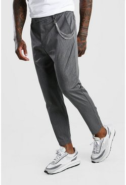 Grey Skinny Cropped Casual Pants With Chain