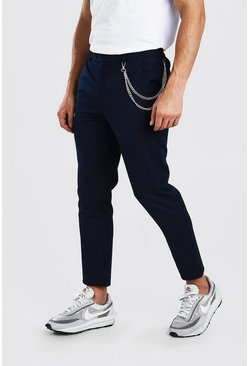 Navy Skinny Cropped Casual Trouser With Chain