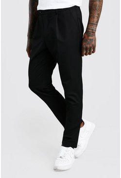 Black Skinny Fit Trouser With Pleat