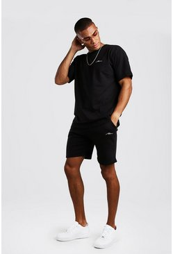 Ensemble short et t-shirt coupe ample signature MAN, Noir