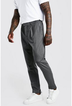 Charcoal Skinny Fit Trouser With Pleat