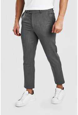 Grey Skinny Cropped Casual Pants