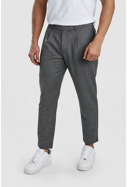 Grey Tapered Casual Crop Trouser With Pleat