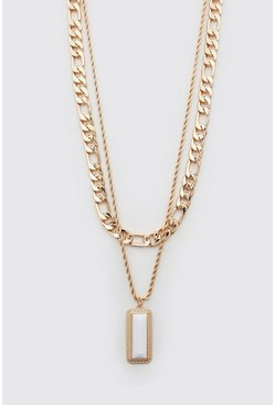 Gold Double Layer Pendant Necklace