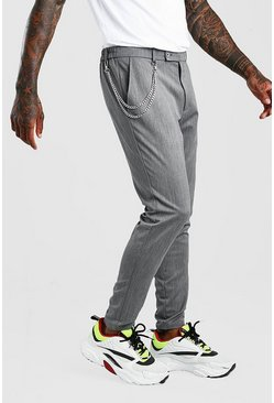 Grey Super Skinny Casual Pants With Chain