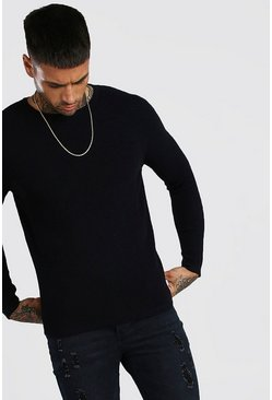 Black Knitted Ribbed Long Sleeve Sweater