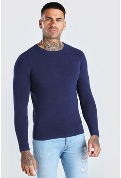 Navy Knitted Ribbed Long Sleeve Sweater