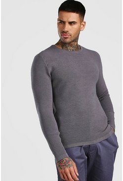 Grey Knitted Ribbed Long Sleeve Sweater