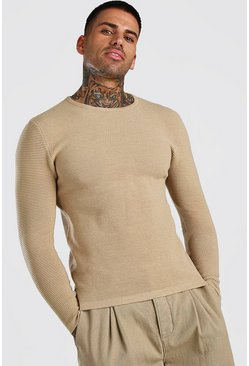 Taupe Knitted Ribbed Long Sleeve Sweater