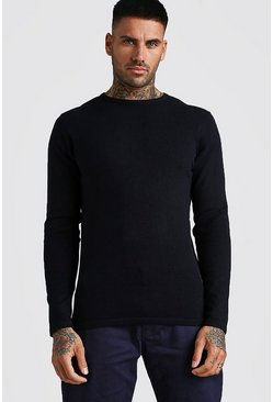 Black Basic Knitted Crew Neck Sweater