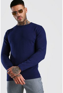 Navy Basic Knitted Crew Neck Sweater