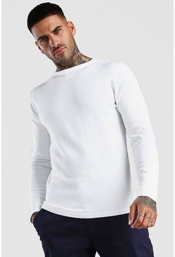 White Basic Knitted Crew Neck Sweater