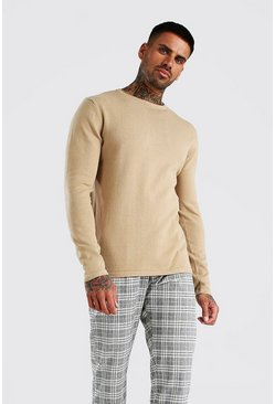 Taupe Basic Knitted Crew Neck Jumper
