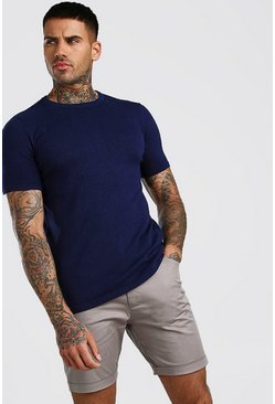 Navy Basic Knitted Crew Neck T-Shirt