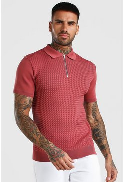 Rose Textured Short Sleeve Zip Polo