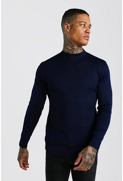Navy Textured Turtle Neck Knitted Jumper