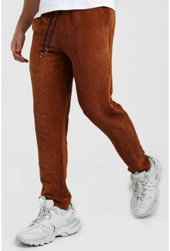 Brown Slim Fit Cord Jogger Trouser