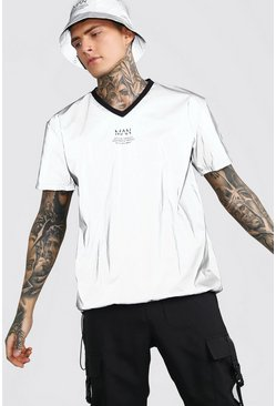 Silver Loose Fit V Neck T-Shirt In Reflective