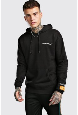 Black Loose Fit MAN Official Printed Hoodie