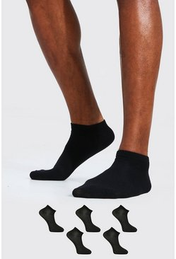 Black 5 Pack Plain Trainer Socks
