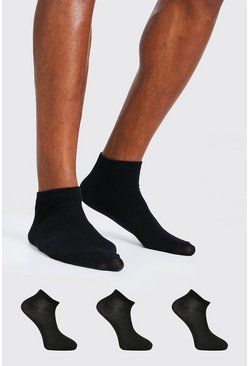 Black 3 Pack Plain Trainer Socks
