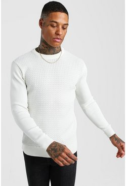 Cream Textured Crew Neck Muscle Fit Sweater