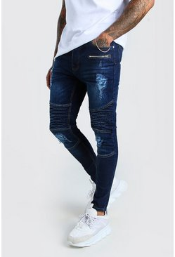 Dark blue Spray On Skinny Biker Jeans With Zips