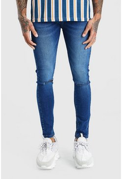Mid blue Super Skinny Washed Ripped Knee Denim Jean