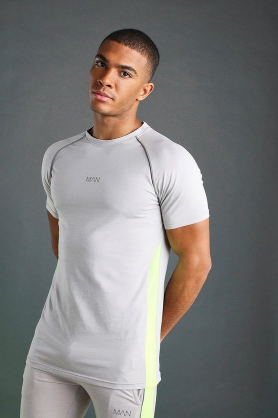Silver Muscle Fit Raglan T-Shirt With Piping