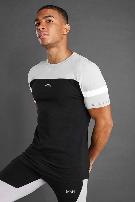 Black Muscle Fit T-Shirt With Panels and Curved Hem