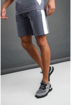 Charcoal MAN Mid Length Shorts with Panel Detail
