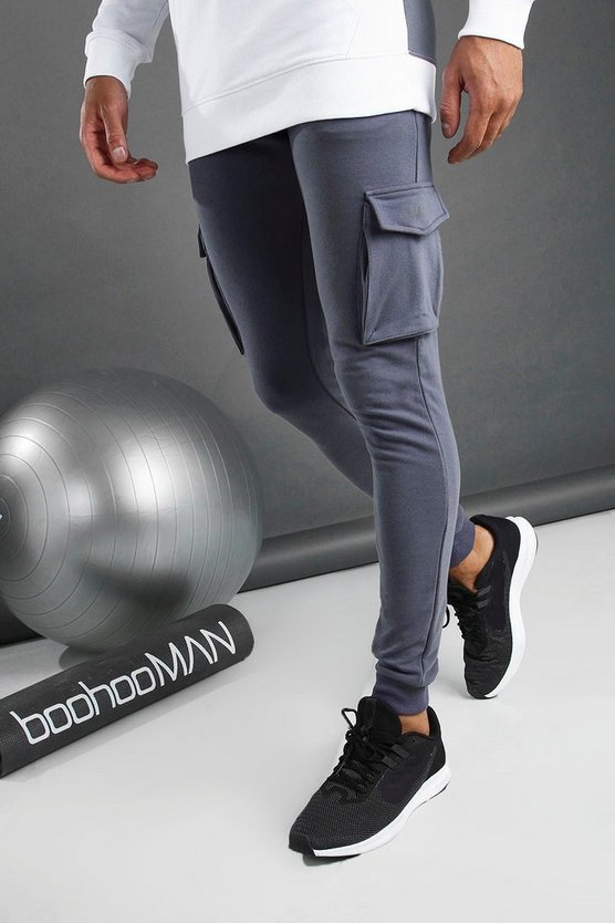 Charcoal MAN Cargo Joggers With Drawcord Detail