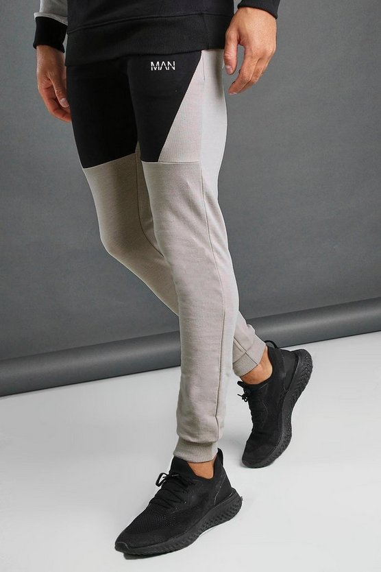 Silver MAN Tapered Fit Colour Block Joggers