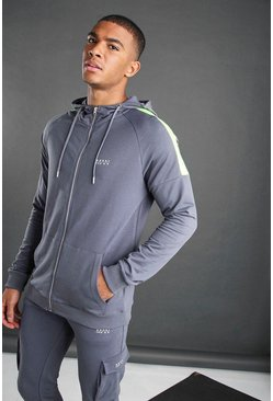 Charcoal MAN Zip Through Hoodie With Panel Detail