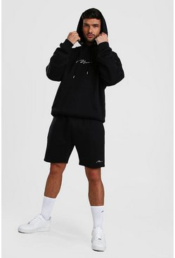 Ensemble Sweat à capuche et short oversize MAN Signature, Noir