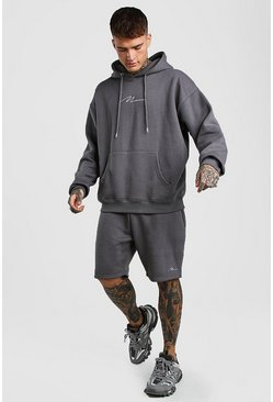 Slate MAN Signature Oversized Hoodie And Short Set
