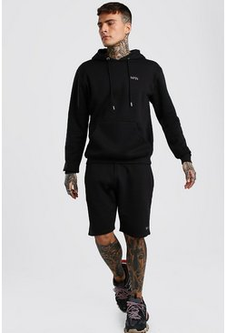 Black Original MAN Short Hooded Tracksuit