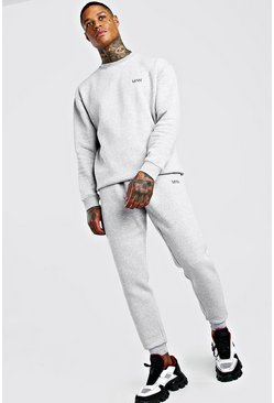 Grey marl MAN Loose Fit Sweater And Skinny Jogger