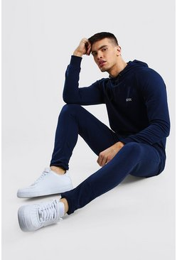 Navy MAN Muscle Fit Hooded Bungee Cord Tracksuit