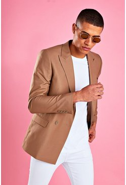 Taupe Boxy Double Breasted Blazer