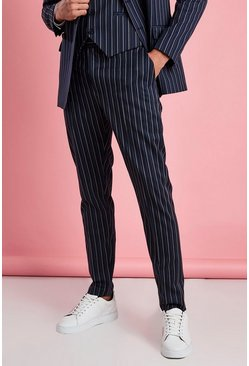 Navy Skinny Fit Smart Stripe Pants