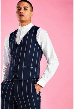 Navy Skinny Stripe Vest