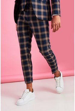 Navy Super Skinny Smart Check Pants