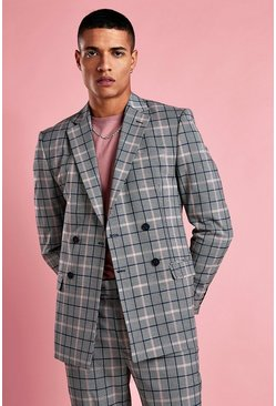 Pink Skinny Fit Double Breasted Blazer