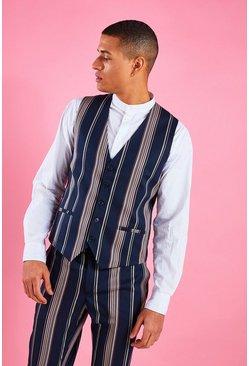 Navy Skinny Fit Stripe Vest