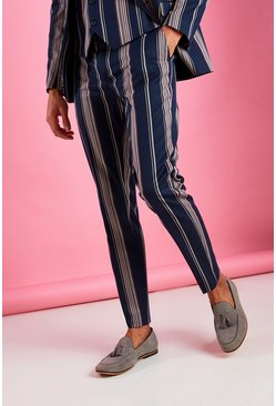 Navy Skinny Fit Smart Striped Pants