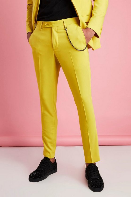 Yellow Super Skinny Fit Smart Trouser With Chain