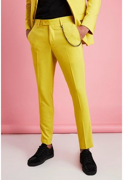 Yellow Super Skinny Fit Smart Pants With Chain