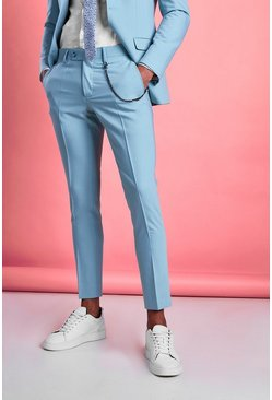 Blue Super Skinny Fit Smart Pants With Chain